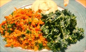 Quinoa-Hummus-Kale Tri-plate
